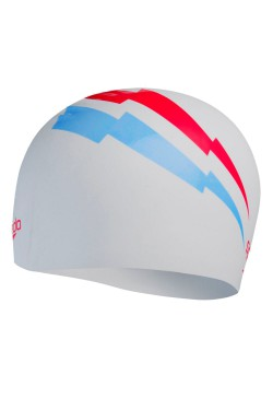 ШАПОЧКА для плав. SPEEDO SLOGAN PRT CAP AU WHITE/BLUE (8-08385F306)