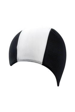 Шапочка д/плав BECO 7723 текстиль (полиэстер, удлиненная) черно/белый (000-0322)