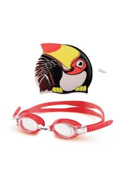 Комплект дитячий окуляри + шапочка HEAD METEOR CHARACTER (чорно-червоні)