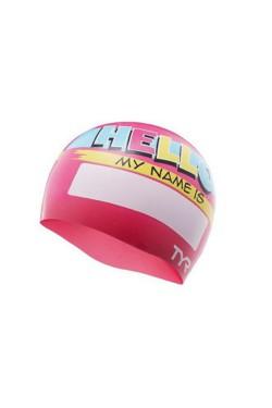 Шапочка для плавания TYR Hello My Name Is, Pink (LCSJRHLO-670)