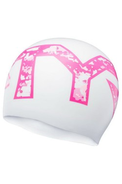 Шапочка для плавания TYR Pink Silicone Swim Cap, White/Pink (LCSPKCMO-126)